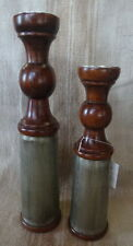 Candle Holder Pair Polished Wood and Whitemetal 38cm and 31cm height