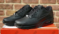 Men's Nike Air Max 90 Leather Triple Black 302519 001 Retail $120