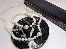 weiss echte süßwasserperle designer schließe armband & kette geschenk verpackt