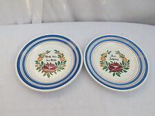 Amberger Keramik Teller mit Spruch pärchen handbemalt, blau-rot-grün,