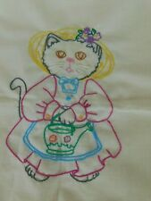 """2  15"""" squares cat embroidery Finished pillow quilt picture"""