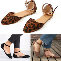 Women Lady Flat Buckle Strap Pump Ankle Pointed Toe Ballet Ballerina Summer Shoe