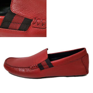 GUCCI SHOES MENS STRIPE DRIVER LOAFERS MOCCASINS SIGNATURE RED LEATHER 8G 8.5