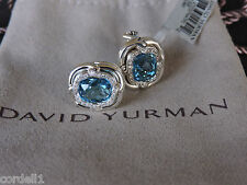 David Yurman E11302 10x8.5mm Blue Topaz Diamond Labyrinth Button Earrings NWT