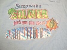 "Vintage ""Sleep With A Soldier"" Funny Dirty Sex Joke Grenade Iron On T Shirt S"