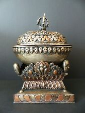 OLD METAL SKULL CAP W. REPOUSSE COVER ON REPOUSSE BASE – TIBET – 2ND 1/2 20thC