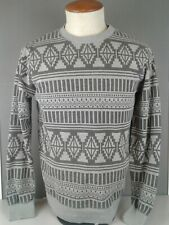 Mens Zimen gray geometric design Long Sleeve cotton crew neck shirt size S