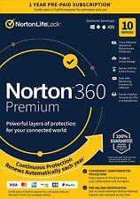 Norton 21389946 360 Premium 10 Devices Antivirus software Auto Renewal[Key card}