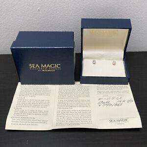 Mikimoto Sea Magic Cultured Pearl Stud Earrings 14k Gold 6 MM Original Box COA