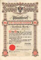 Central - Bank der deutschen Sparkassen in Prag Pfandbrief über 1000 Kronen 1917