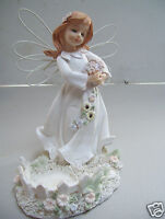 """Angel With Flower Bouquet"" Candle Holder 7"" Tall 5.5"" Across Bottom Figurine"