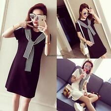 Korean Women Casual Loose Stripe Bow Short Sleeve Shift Shirt Summer Tunic Dress