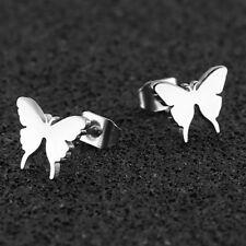 Men Women Stainless Steel Gold Silver Black Butterfly Ear Stud Piercing Earrings