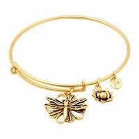 Chrysalis 14K Gold-Flashed Brass Expandable Dragonfly Bangle, 7-8.5""
