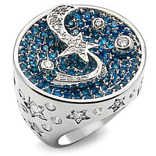 Ladies Shooting Star Blue & Clear Stones Silver White Gold Plated Ring Size 9