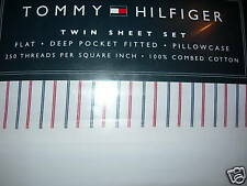 NEW TOMMY HILFIGER WELLESLEY STRIPE NAVY RED 3  PIECE TWIN SHEET SET