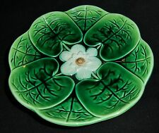 Josepth Holdcroft Majolica three footed liily and stork plate circa 1870s VGC