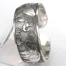 Hot! New Tibetan Tibet Silver The sun Elephant Bangle Cuff Bracelet