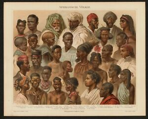 Antique Chromolithograph of African Peoples  - 1885 Printed in Leipzig, Germany