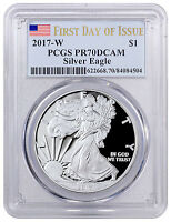 2017-W Proof Silver Eagle PCGS PR70 DCAM First Day of Issue Flag Label SKU47042
