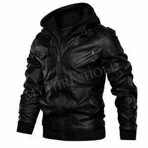 Men's Genuine Real Leather Jacket Black Bomber Winter Hooded Jacket Coat