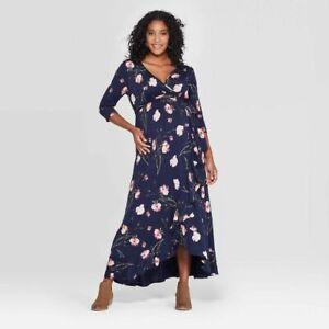 Maternity Floral 3/4 Sleeve Wrap Maxi Dress - Ingrid & Isabel - Navy - S - C574