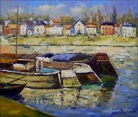 Hand Painted Oil Painting Repro Claude Monet Seine at Asnieres, 20x24in