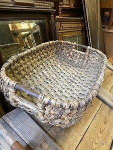 French Vintage Large Wicker Harvest Basket