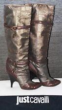 WOW JUST CAVALLI stivali stivali di pelle camoscio ORO-MARRONE TG 39 LOGO 1a scarpe!
