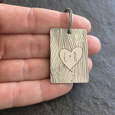 Initials on a Tree Trunk Key Chain - Personalized Love Anniversary Wedding Gift