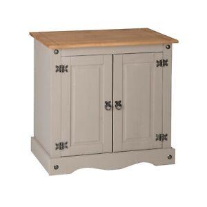 Corona Grey Wax 2 Door Small Sideboard Cupboard, Solid Mexican Pine Wooden