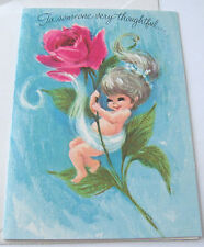 Unused Vtg Thank You Card Cute Pixie Girl on Huge Pink Rose