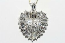 $31,000 6.63CT HANDMADE PLATINUM NATURAL CUSTOM CUT DIAMOND HEART PENDANT