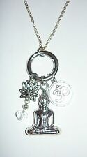 """MEDITATION - 18"""" necklace with Buddha, lotus flower and Ohm symbol charms"""