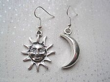 LARGE MISMATCH SUN and Crescent MOON SP Drop Earrings CELESTIAL