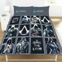 Double Bed Assassin's Creed LEGACY Reversible Duvet Cover Set Panel Grey Black