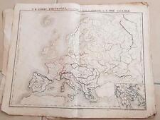 CARTE GEOGRAPHIQUE ANCIENNE: L'Europe emblématique (garantie authentique.19 eme)