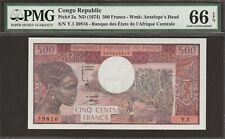 PMG-66 EPQ GEM UNC Congo Republic 500 Francs P-2a / B201a earliest signature var