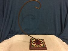 "Jim Shore SQUARE QUILT 10.5"" Ornament Stand Holder 2002 Enesco 105184 Christmas"