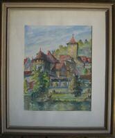 ::AQUARELL EHRMANN Stadtmauerpartie in Schwäbisch Hall antik Turm Ufer signiert