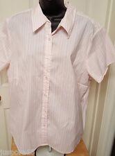 Fashion Bug Woman's Plus Pink/White Striped Button Down Shirt Size 22/24
