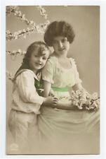 1910s Child Children Cute Little SAILOR SUIT GIRL w/ Mother Kid photo postcard