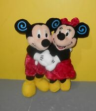 """8"""" Disney Store Valentines Day Mickey & Minnie Mouse Huggers Bean Bag Plush"""