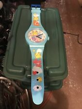 Care Bears 2003 Wall Hanging Clock Giant Wrist Watch Blue Vtg