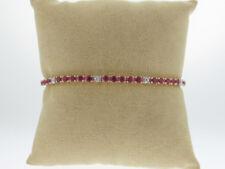 """Dainty Red Rubies (3.60tcw) Diamonds Solid 14k Yellow Gold Tennis Bracelet 7"""""""