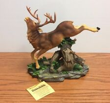 Classic Wildlife Collection Moose Jumping Stump Figurine On Decorative Base-New