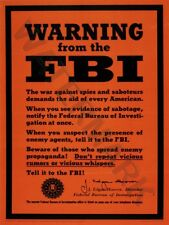 """Guerre wwii ad warning from th fbi espionnage 12x16 """"poster art print HP3613"""