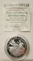 1oz Silver Shield Proof Black Swan Silver Round #23 Death of the Dollar Series