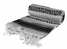 """Grey Authentic Striped Mexican Blanket in Hand Woven 73"""" X 48"""""""