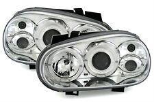 2 PHARES ANGEL EYES VW VOLKSWAGEN GOLF 4 CARAT EDITION CHROME M1 LED AVANT FEUX